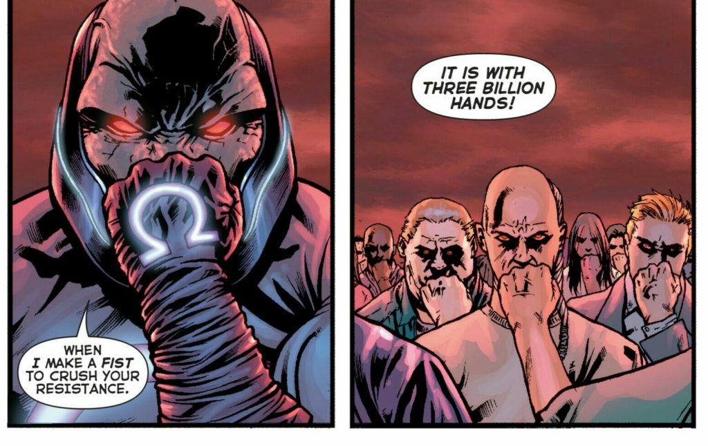 Final Crisis Serisinden Darksaid'in Anti Yaşam Denkleminin Gücünü kullandığı sahne