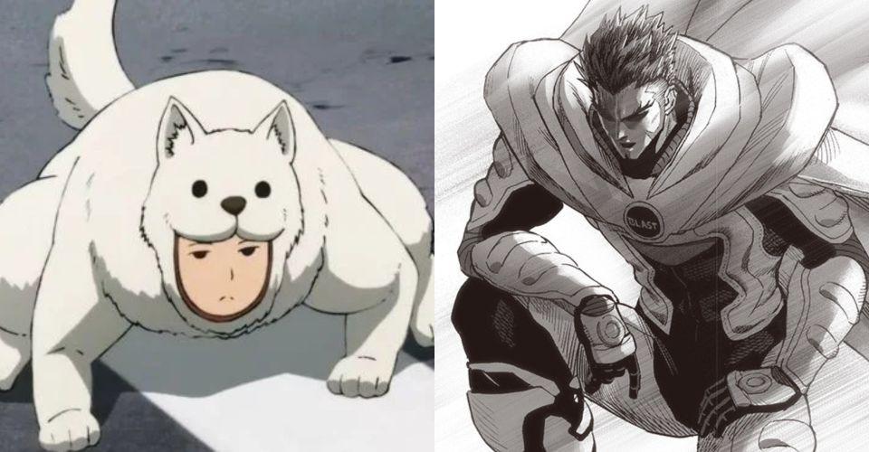 blast ve gözcü köpeği - one punch man
